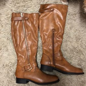 Forever21 cognac leather boots